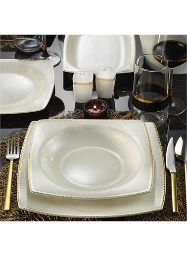 Kütahya Porselen Kütahya Porselen Bone Mare 62 Parça 11372 Desen Altın Fileli Yemek Takımı Renkli